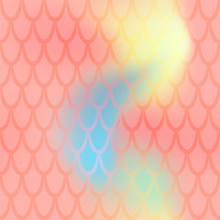 Iridescent Fish Scale Seamless Pattern. Living Coral Colored Mermaid Background. Fish Skin Pattern Over Colorful Mesh