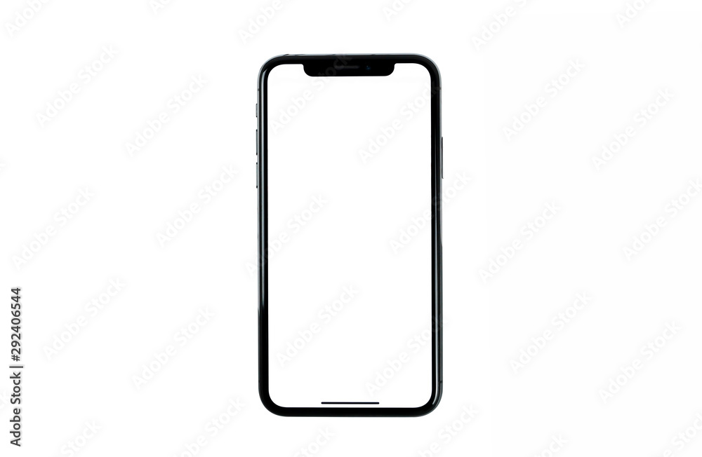 Fototapeta Smartphone frameless mockup. Studio shot of Smartphone iPhone 11 Pro Max with blank screen for Infographic Global Business web site design app, - Clipping Path