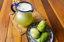 Green Prickly Pear Fruit Water In Glass Jar