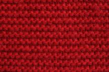 Red Wool Knitted Texture Background. Garter Stitch Pattern. Closeup