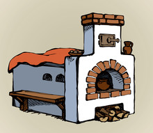 Old Russian Stove. Vector Drawing