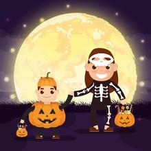 Halloween Scene With Pumpkins ...