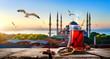 Leinwandbild Motiv Tea and Blue Mosque