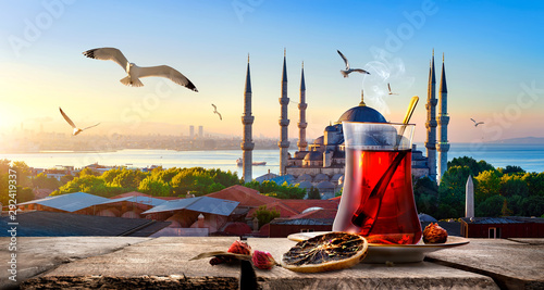 Tea and Blue Mosque Canvas Print