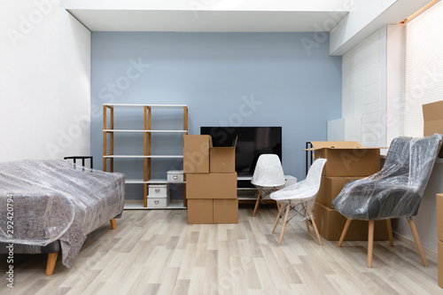 Obraz Living Room Interior With Moving Boxes - fototapety do salonu