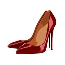 Red High Heeled Shoe Vector Illustration