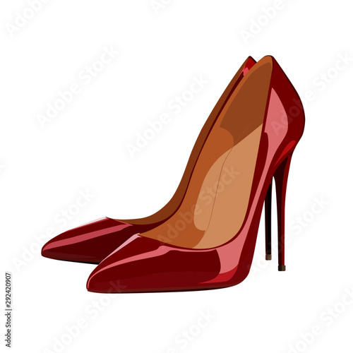 Fotografia red high heeled shoe vector illustration
