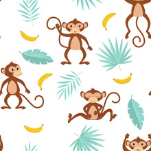 Pattern With Monkey On White B...