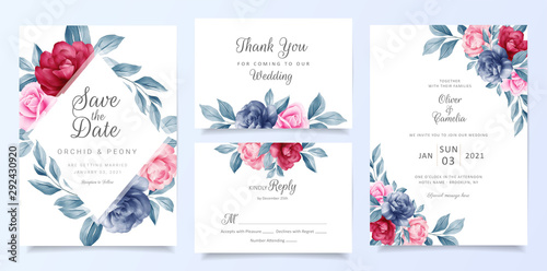 Fotografia, Obraz  Navy blue wedding invitation card template set with floral frame and decoration