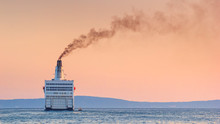 Summer Seascape With Sunset View - The Ship Leaves Port For The Open Sea, Port Of Split On The Adriatic Coast Of Croatia