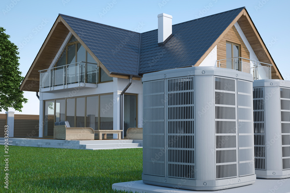 Fototapeta Air heat pump and house, 3d illustration