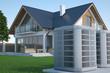 Leinwanddruck Bild - Air heat pump and house, 3d illustration