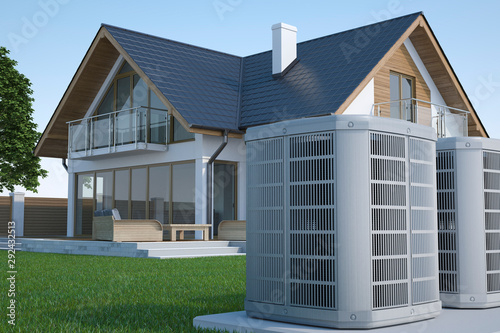 Fotografia Air heat pump and house, 3d illustration