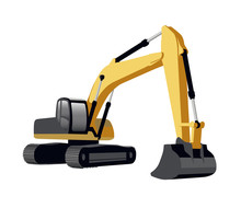 Crawler Excavator Vector Illustration Isolated