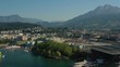 luzern city famous sunny day lakeside bay dock aerial panorama 4k switzerland