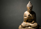 The statue of the Lord Buddha in Chinese style on a black background