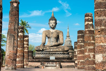Sukhothai, Thailand - Apr 08 2018: Wat Mahathat In Sukhothai Historical Park, Sukhothai, Thailand. It Is Part Of The World Heritage Site - Historic Town Of Sukhothai And Associated Historic Towns.