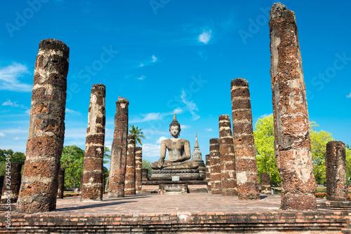 Valokuva Sukhothai, Thailand - Apr 08 2018: Wat Mahathat in Sukhothai Historical Park, Sukhothai, Thailand