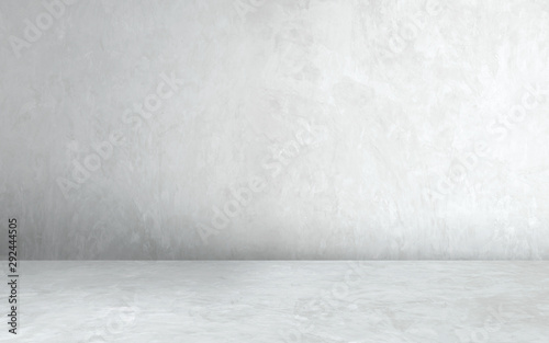 Room empty of cement floor with gray room cement or concrete wall texture background and sun light. - 292444505
