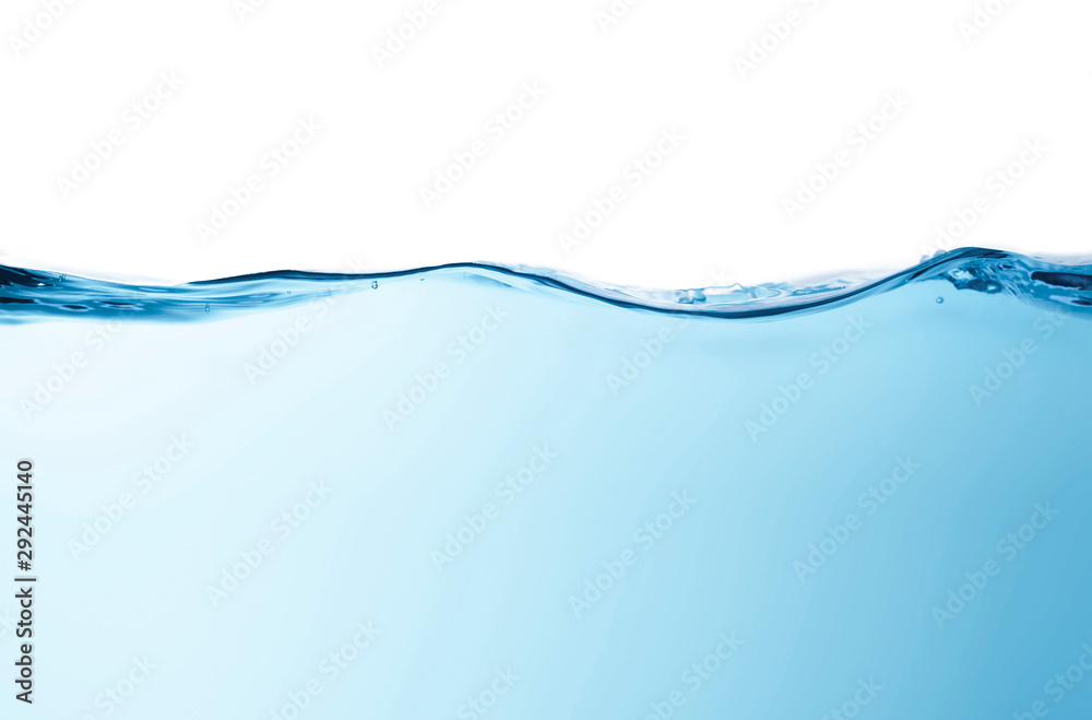 Fototapety, obrazy: Blue water splashs wave surface with bubbles of air on white background.