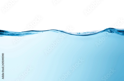 Fotografía  Blue water splashs wave surface with bubbles of air on white background