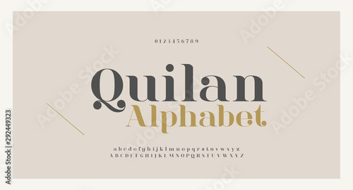 Fotomural Elegant alphabet letters font and number