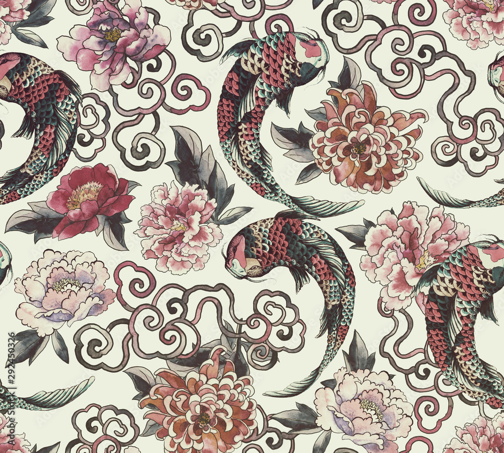 Fototapeta Beautiful trendy Japanese pattern in tattoo style. Seamless wallpaper with asian flowers and  koi
