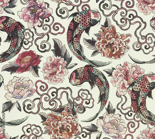 Beautiful trendy Japanese pattern in tattoo style Tableau sur Toile