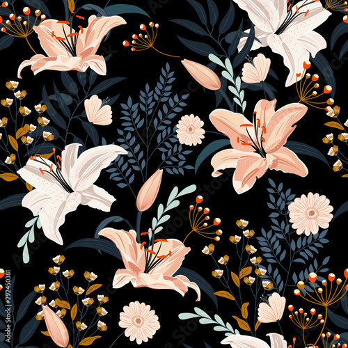 Photo  Lily flower seamless pattern on black background with floral, White lily floral