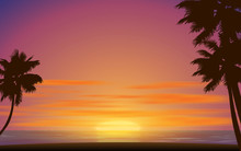 Landscape Of The Beach In Sunset