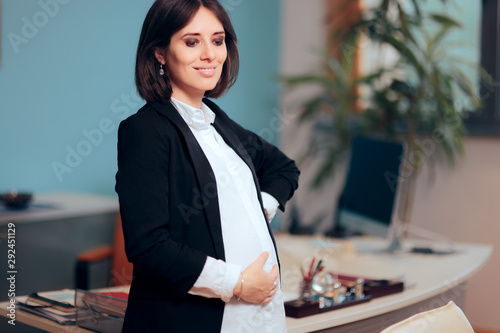 Office Portrait of a Pregnant Business Manager