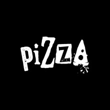 Rustic Grunge Lettering Typography Of Pizza Logo Design