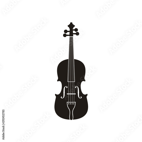 Fotografia, Obraz Silhouette of Violin Cello Fiddle Contrabass