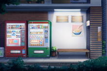 Peaceful Alley And Vending Water - Night , Digital Painting.