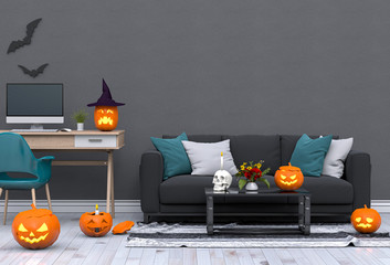 3D render Halloween party in living room with pumpkins, jack-o-lantern
