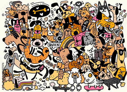 Fototapety komiks   funny-dog-best-friends-happy-friendship-day-pattern-flat-cartoon-dog-funny-cute-kawaii