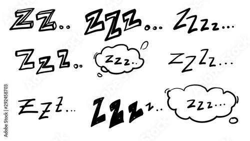 Photo handdrawn zzz symbol for doodle sleep illustration vector