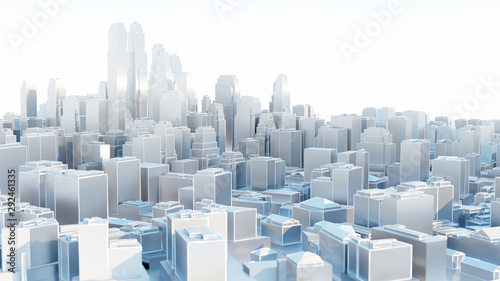 3d abstract modern city in sunny day - 292461335