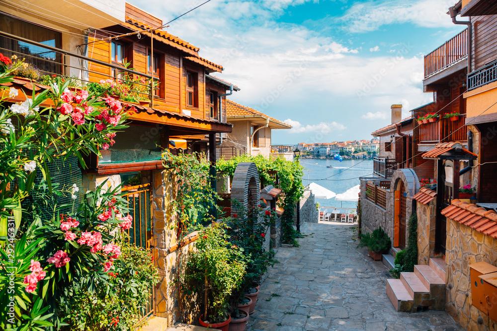 Fototapeta black sea and old town in Sozopol, Bulgaria