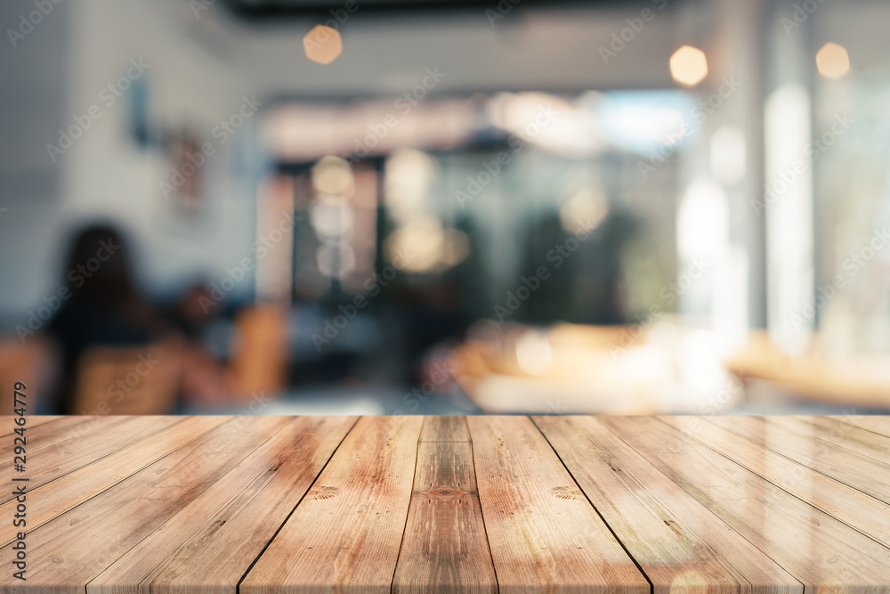 Fototapeta 3D Rendering, Empty wooden table top with lights bokeh on blur restaurant background