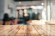 canvas print picture - 3D Rendering, Empty wooden table top with lights bokeh on blur restaurant background