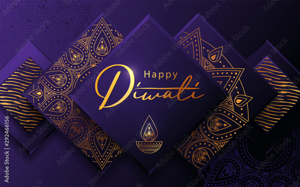 Fototapeta Diwali festival modern luxury design in paper cut style with golden pattern and oil lamp on violet textured background. Holiday template for branding, greeting card, banner, cover, flyer or poster