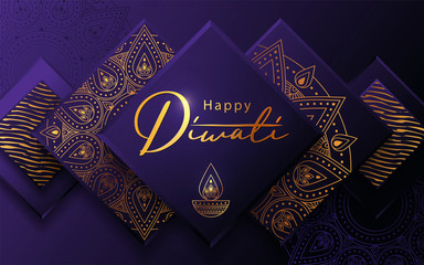 Diwali festival modern luxury design in paper cut style with golden pattern and oil lamp on violet textured background. Holiday template for branding, greeting card, banner, cover, flyer or poster