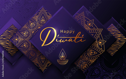 Fotografie, Obraz  Diwali festival modern luxury design in paper cut style with golden pattern and oil lamp on violet textured background