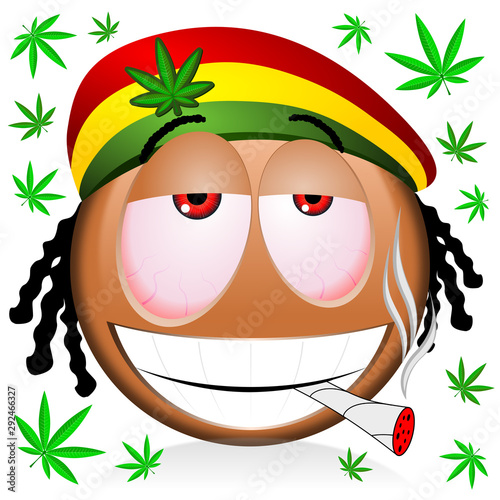 Reggae rastaman black emoji smoking marijuana - cartoon illustration Wallpaper Mural