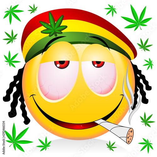 Photo  Reggae rastaman yellow emoji smoking marijuana - cartoon illustration
