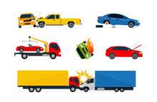 Road Accidents Set Of Different Situations. Car Crash Isolated On White Background. Colorful Vector Illustration Set.