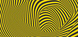 Pattern with optical illusion. Black and yellow design. Abstract striped background. Vector illustration.
