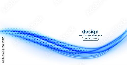 Foto elegant smooth blue wavy shape on white background