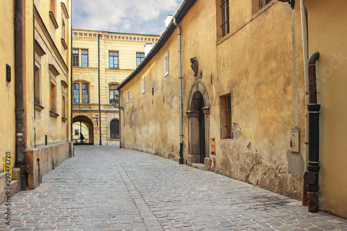 krakow-poland-may-25-2019-old-tenements-by-the-senacka-street